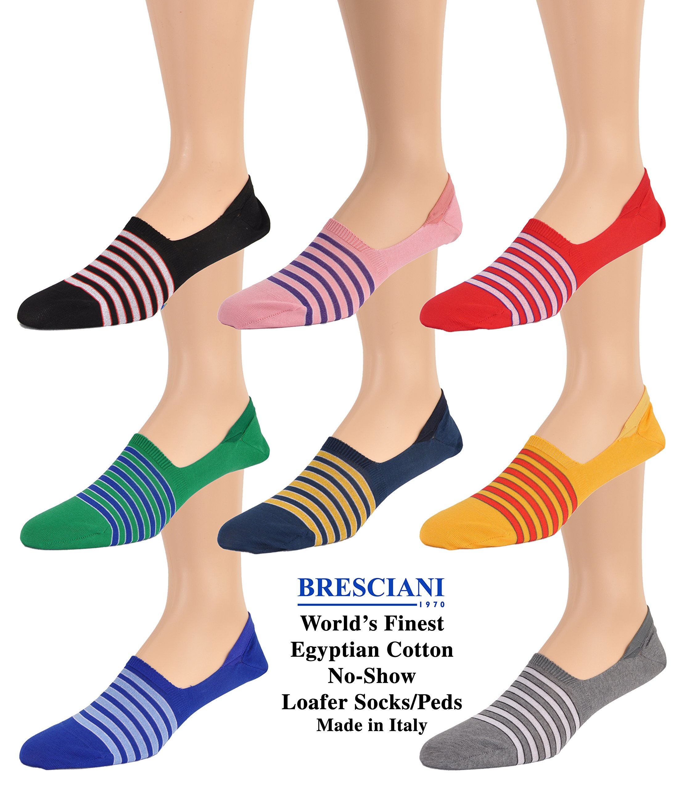 All Eight Colors World's Finest Selection: Cotton No-Show Striped Loafer Socks/Peds - S/M