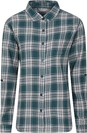 Mountain Warehouse Camisa de Franela Larga Balsam de Manga Larga, para Mujer - Transpirable, a Cuadros, antipelusas, cálida y Ligera - Prenda para ...