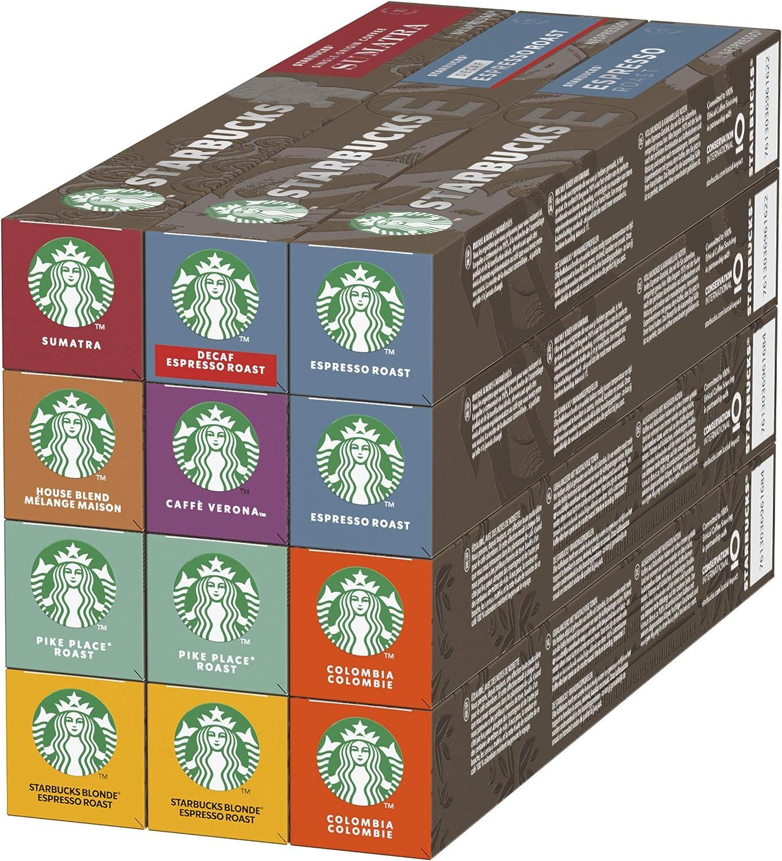 Starbucks Variety Pack De Nespresso Cápsulas De Café 12 X Tubo De 10Unidades