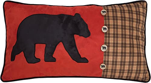 Carstens, Inc Bear and Buttons Red with Plaid Decorative Pillow, 14 x 26, Multicolor