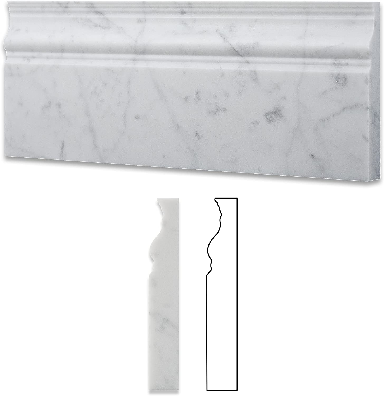 Oracle Moldings Italian Carrara White Marble Honed 5 X 12 Baseboard 4 Sample