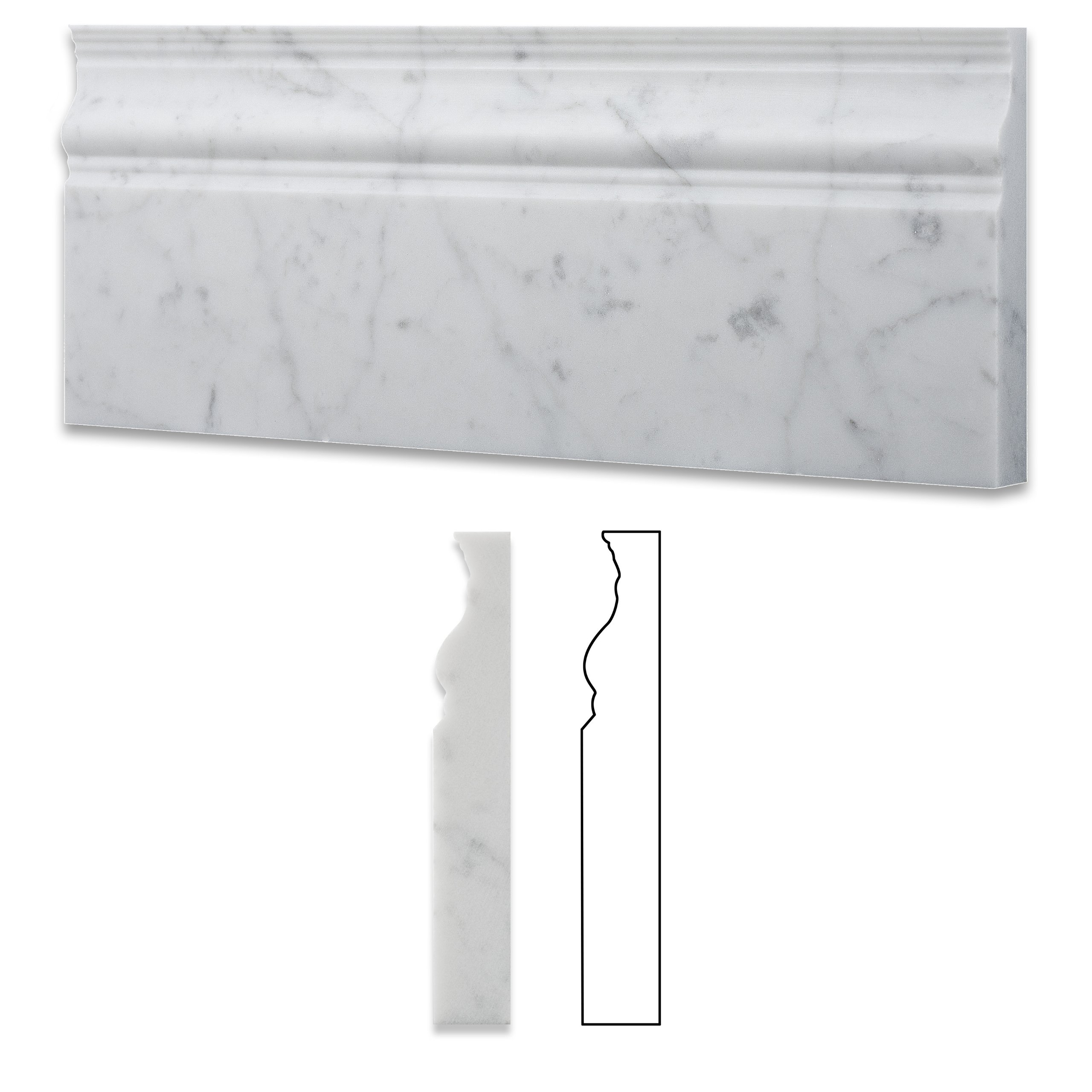 Italian Carrara White Marble Honed 5 X 12 Baseboard - Box of 5 Pcs. by Oracle Moldings (Image #1)