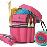 Stitch Happy Designer Knitting Bag with 7 Multi-Use Pockets for Crochet Supplies with Inner Organizer to Protect Your Yarn Thread and Wool (Fuchsia)