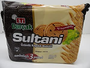 Eti Burcak Sultani Bran Biscuit with Raisins 414g,