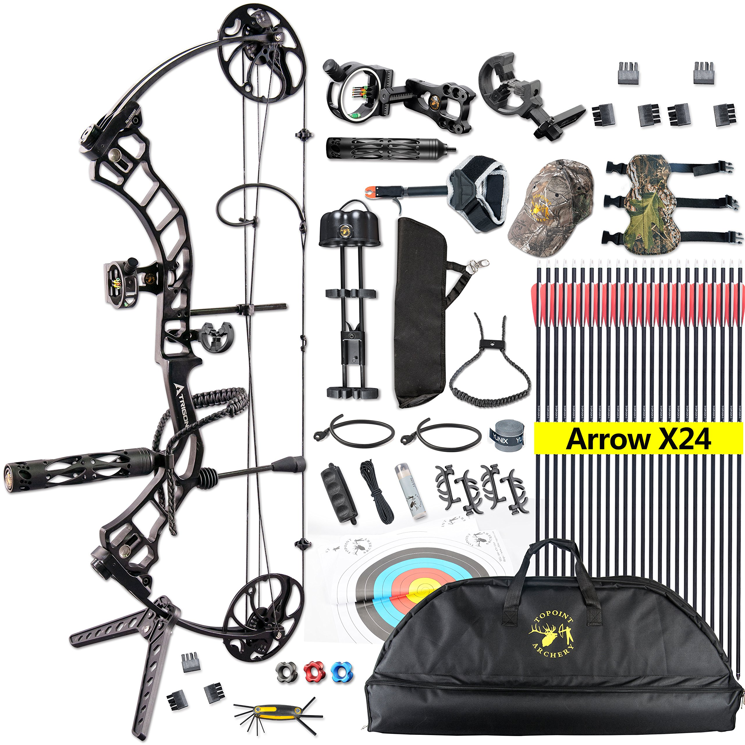 TOPOINT Trigon Compound Bow Full Package,CNC Milling Riser,USA Gordon Composites Limb,BCY String,19''-30'' Draw Length,19-70Lbs Draw Weight,IBO 320fps (Black)