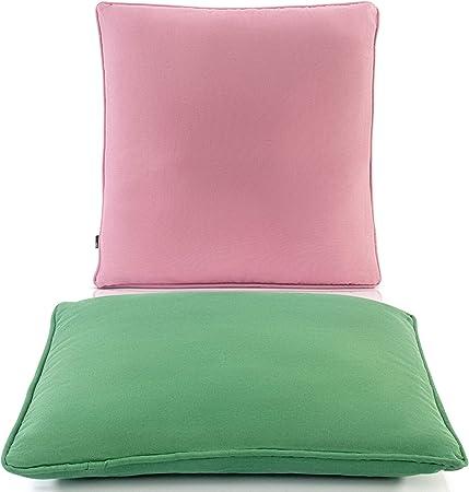 Cojines Exterior Impermeable - Cojin Exterior Relleno Cojines Verde y Rosa 2X 40x40 cm - Cojín de Jardín: Amazon.es: Hogar