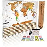 Scratch Off World Map. Travel Tracker Map. With US States, Flags and Gift Packaging. Includes zippered travel wallet and mini-stickies. Scratch off your travels! Professional Design by Landmass