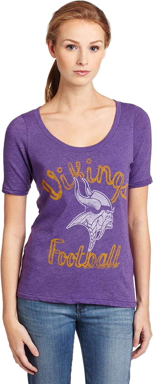 NFL Minnesota Vikings Heather Vintage Thermal Sleeve Athletic Tee Women's