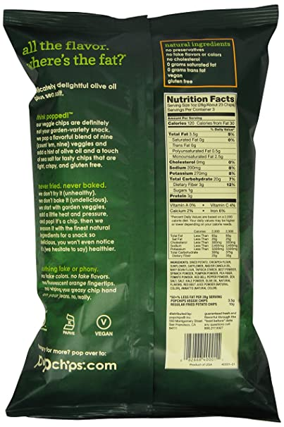 Amazon Popchips Veggie Chips Olive Oil 3 Ounce Ve able