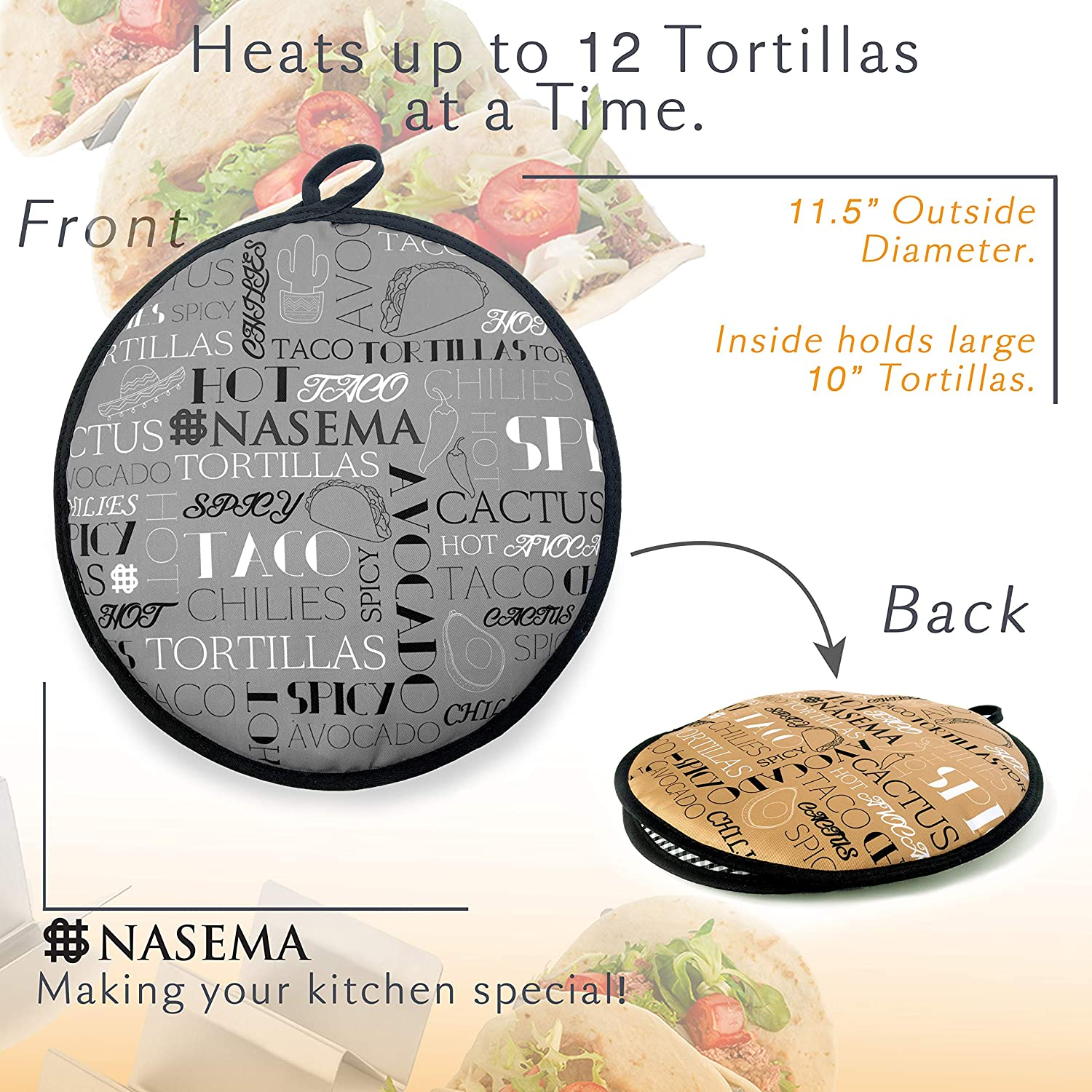 Insulated Tortilla Warmer Pouch with Two Sides, 11.5 inches Microwavable to enjoy 1h of Warm Bread