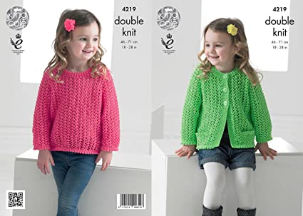 ecb31fa93 King Cole 4219 Knitting Pattern Girls Lace Cardigan and Sweater to knit in  King Cole Big Value Baby DK  Amazon.co.uk  Kitchen   Home