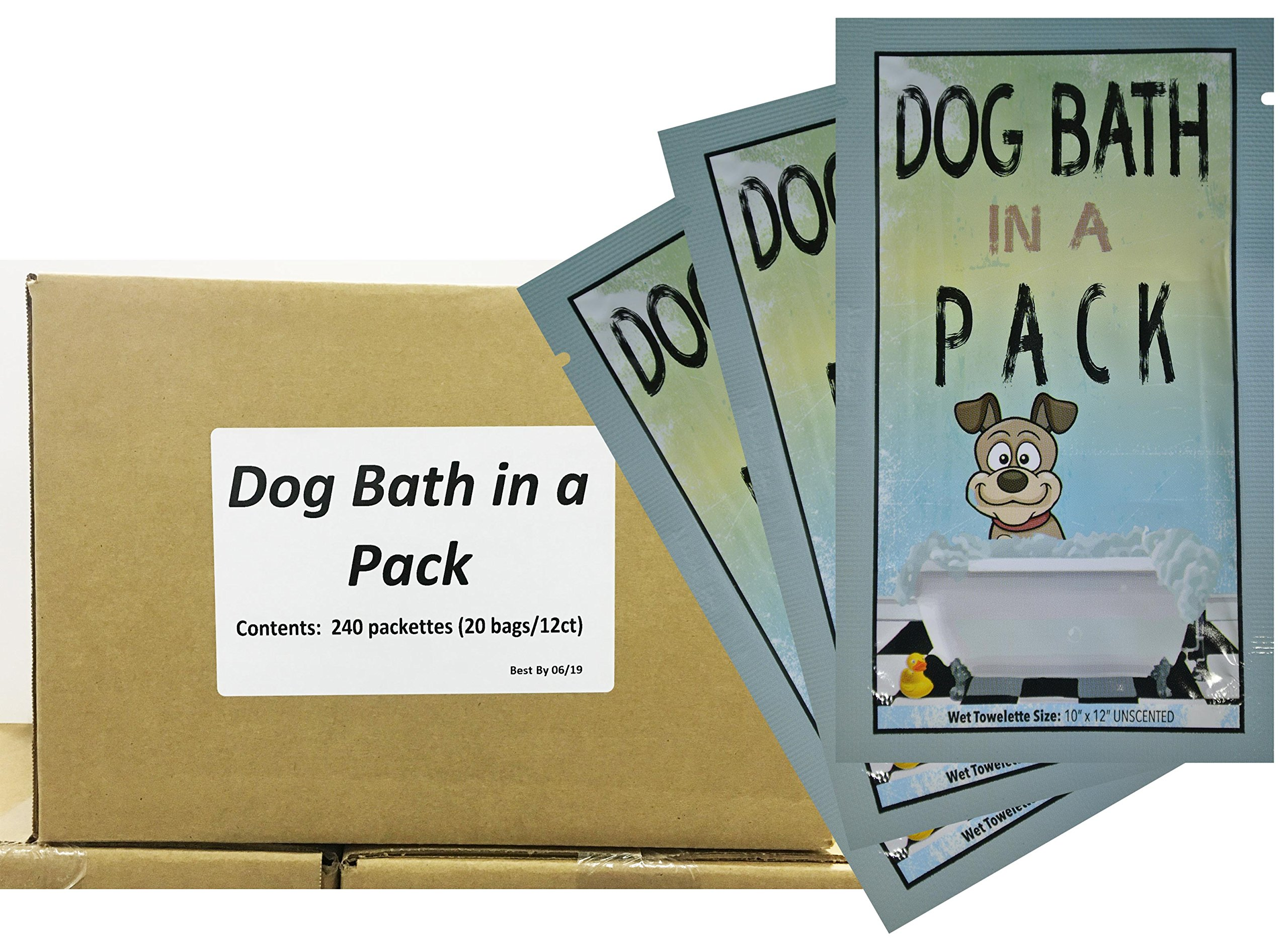 DOG BATH IN A PACK - Largest Bath and Grooming Moist Wipes in Individual PacksNEW Perfect for Travel or When on the GO 240ct.