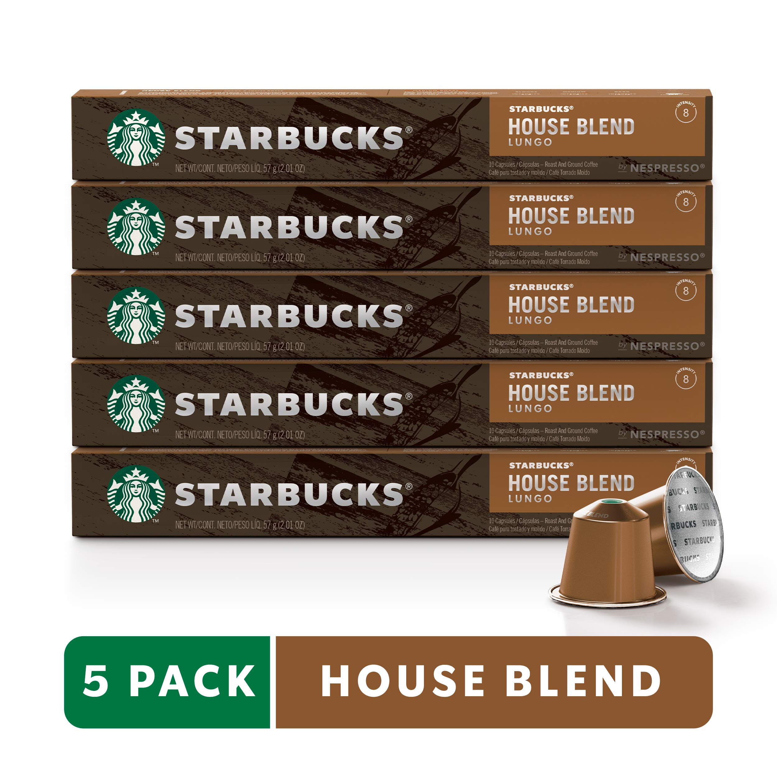 Starbucks by Nespresso, House Blend (50-count single serve capsules, compatible with Nespresso Original Line System) by Starbucks for Nespresso (Image #1)