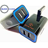 BlinkTec® - ULTRA SPEED USB Wall Charger Plug [Upgraded/Travel-ready] Dual Port Intelligent Charging Hub for all Smart Phones/Tablets including iPhone/Samsung/Kindle/Fire/Paper White/iPhone 7/iPad/iPad Mini/Galaxy/Huawei/ Apple Watch/Tab/Edge/Note/HTC One/Lumia & ALL USB Charging Devices 3.1a AC Mains Adapter