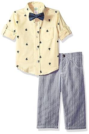 c463da5a9816 Amazon.com  Little Me Baby Boys  Woven Pant Shirt and Tie Set  Clothing