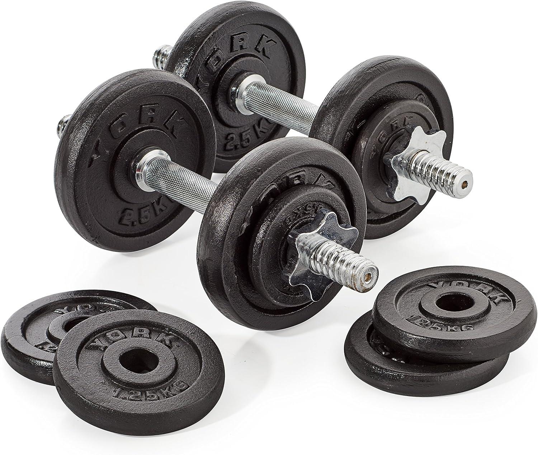 York Fitness - Set de 2 mancuernas 10kg/u: Amazon.es: Deportes y ...