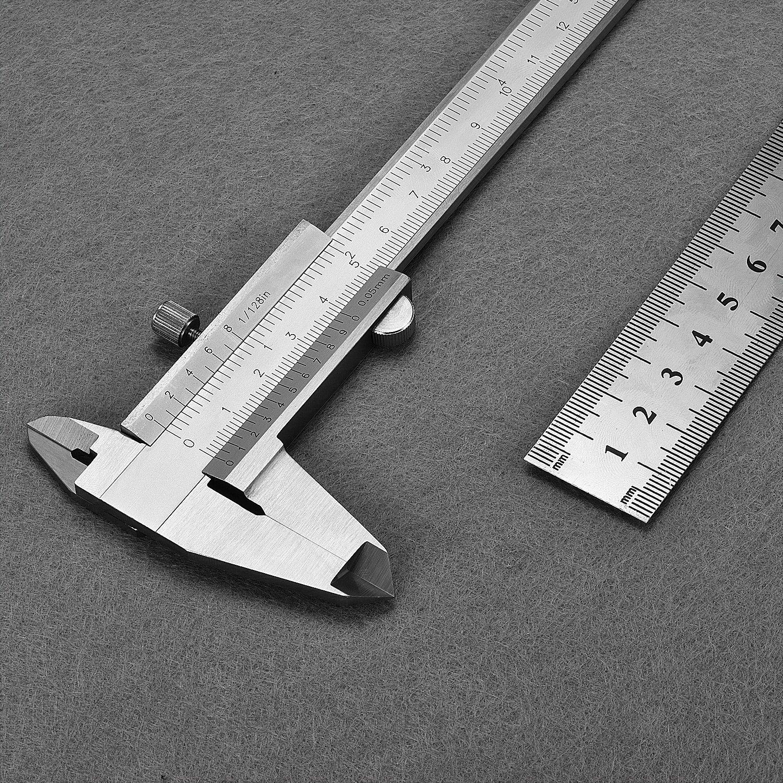 Vernier Caliper, TEPSMIGO 150mm (6 inch) Metric & Imperial Vernier Caliper With 20cm Steel Ruler ¡ TEPSMIGO 150mm (6 inch) Metric & Imperial Vernier Caliper With 20cm Steel Ruler ¡