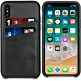Apple iPhone Xs/iPhone X Leather Case - iPulse [Dallas Series] Full Grain Leather Snap On Card Holder Case - [Ultra Slim] [Hard Back Cover] [Sensitive Buttons] - Charcoal Black