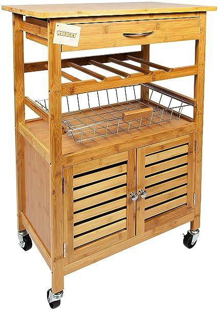 woodluv Carrito de Cocina bambú de Golf con cajón, Cesta de, Armario y botellero