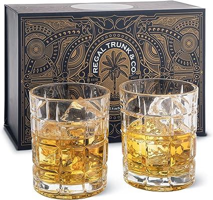 Juego de 2 vasos de whisky empaquetados en una espectacular caja de regalo | Vasos de whisky de cristal sin plomo para whisky, bourbon o ron | 10 ...