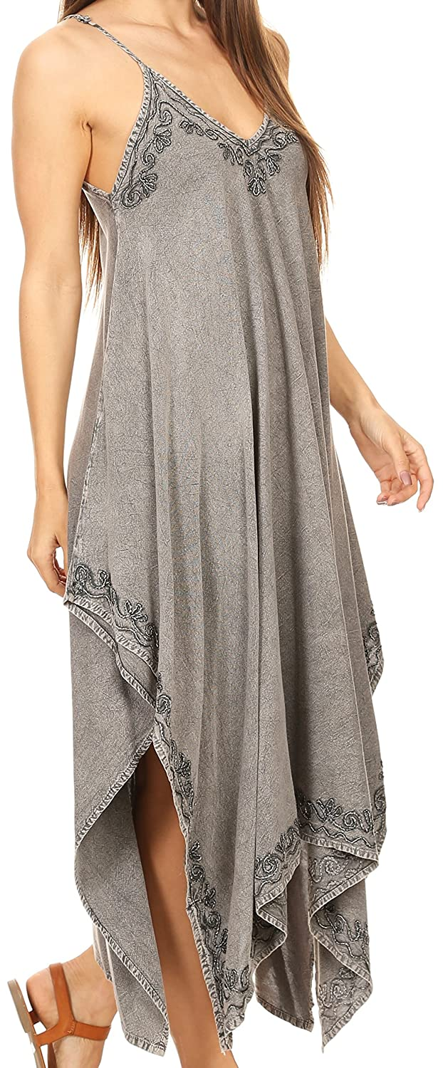 f67e9030f29 Sakkas 16820 - Eleonora Stonewashed Embroidered Spaghetti Strap  Handkerchief Dress - Grey - OS  Amazon.ca  Clothing   Accessories