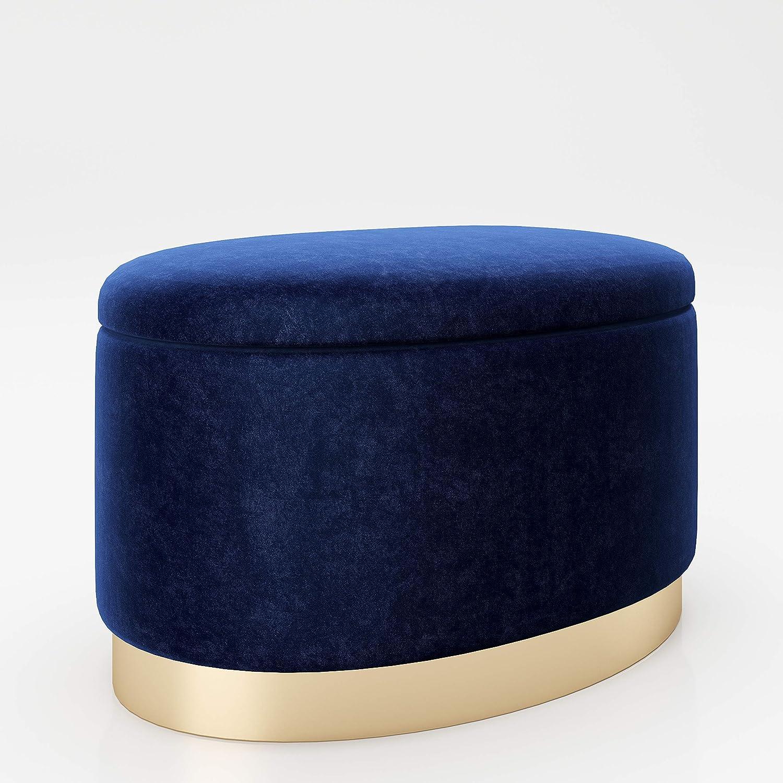 PLAYBOY cm 677206BL Pouf Ovale avec Espace de Rangement 60 x 40 x 40 cm Bleu Le Pied dor