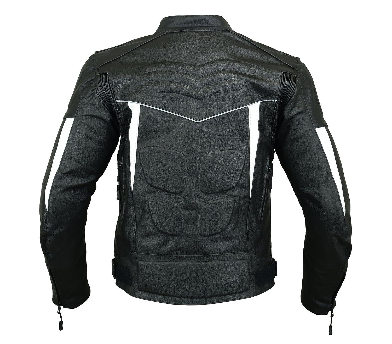 altamente protettiva sportiva per motocicletta colore: nero e bianco in pelle Giacca corazzata da uomo LJ-4012