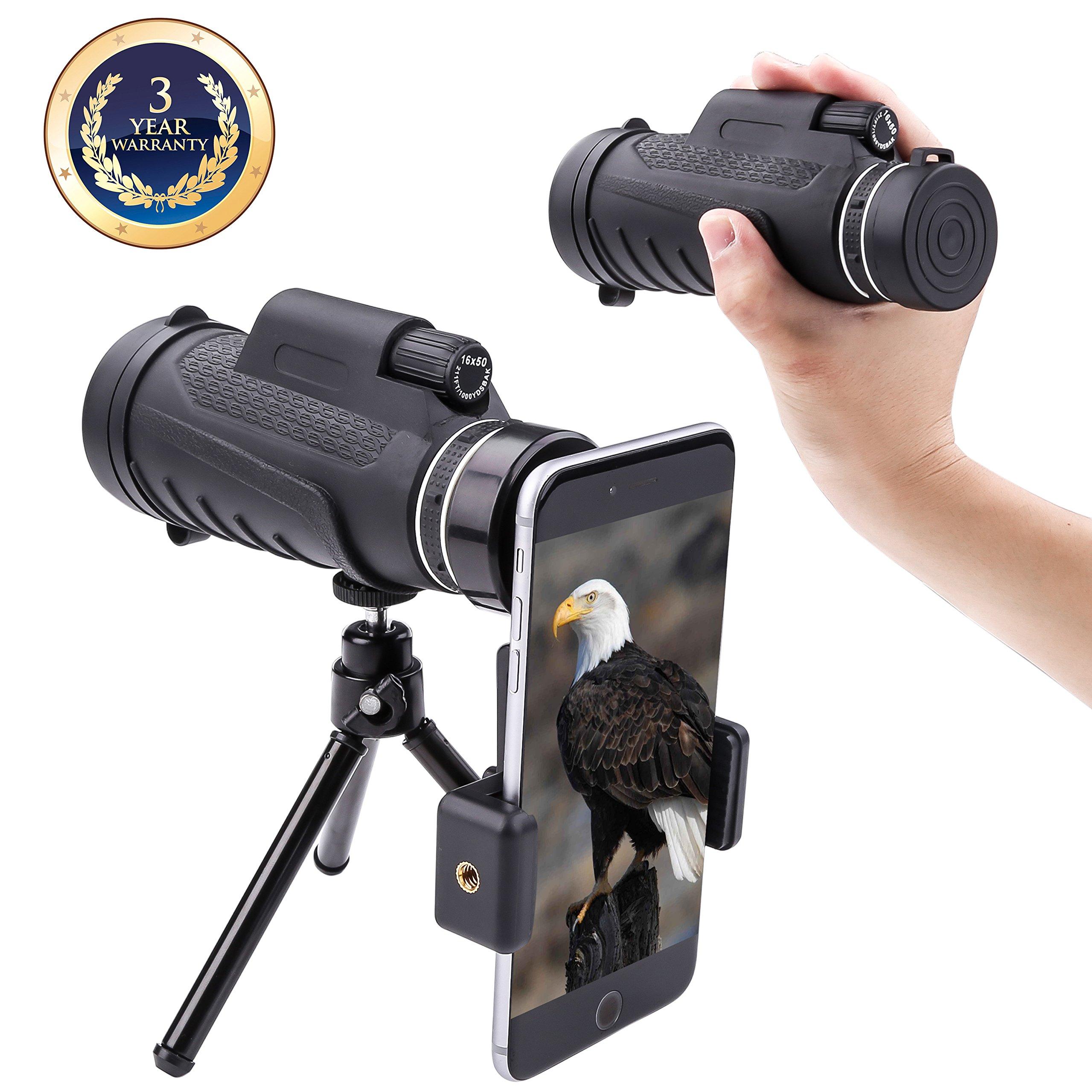 Monocular telescope Dual focus Prism Night Vision waterproof dustproof shockproof Scope for Bird Watching, Camping, Outdoor Hunting (black)