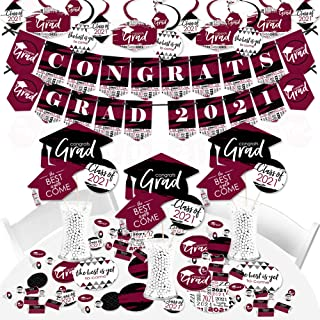 product image for Big Dot of Happiness Maroon Grad - Best is Yet to Come - 2021 Burgundy Graduation Party Supplies - Banner Decoration Kit - Fundle Bundle