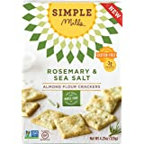 Simple Mills Rosemary & Sea Salt Almond Flour Snack Crackers, Gluten Free, Vegan, Paleo, Natural 4.25 ounce (Pack of 3)