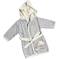 LADI Bathrobe For Baby Boy Girl Unisex Kid Infant Rainbow Face Model Colors (Gray | Pink)100% Organic Cotton (6M-12M-18M…