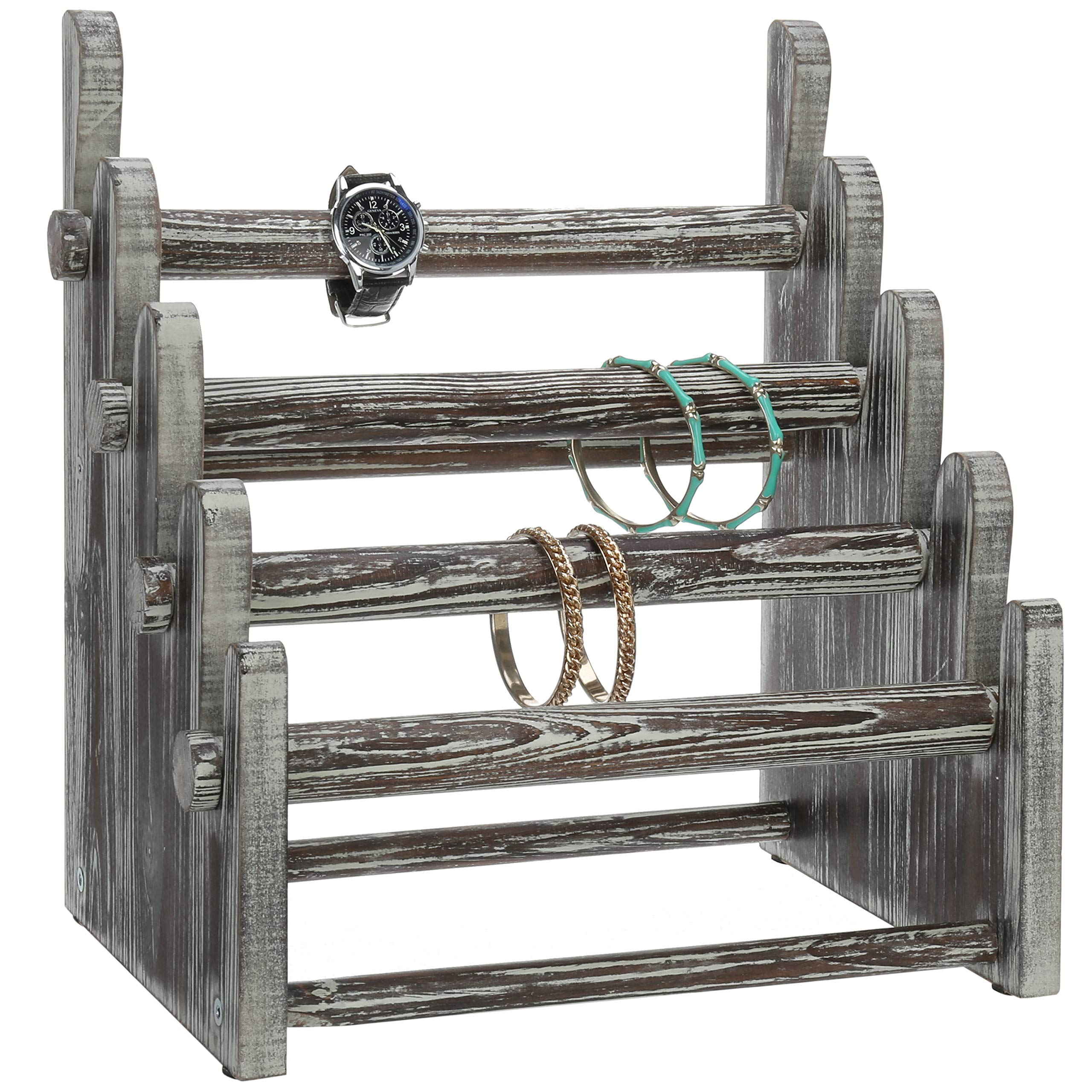 MyGift 4-Tier Rustic Wood Jewelry Bracelet Display Rack
