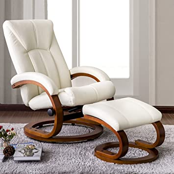 Wonderful Haper U0026 Bright Designs Swivel Recliner And Ottoman Beige Leather Lounge  Seat With Foot Stool And