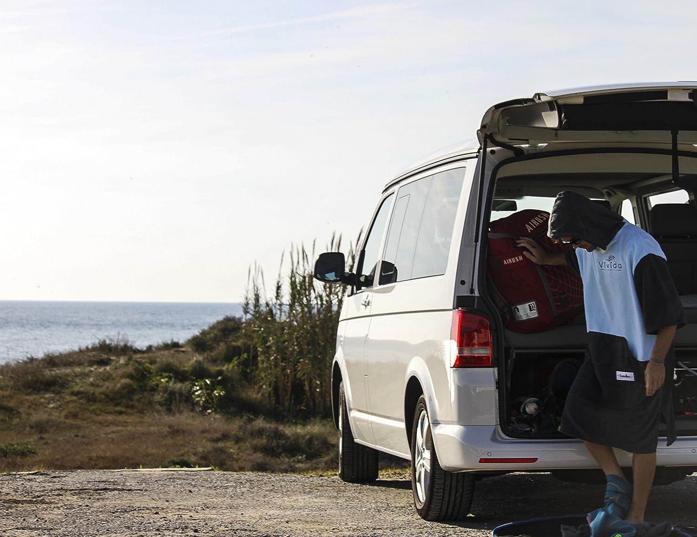 Nuoto Tasca Larga con Zip per Spiaggia Vivida Lifestyle Asciugamano per Cambiarsi con Microfibra Assorbente con Aperture Lateri Original Poncho con Cappuccio Surf e Triatlona S//M Blu//Grigio