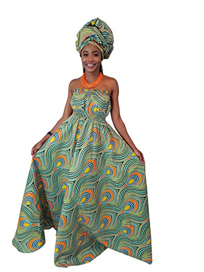 Women Peacock African Printed Plus Size Casual Maxi Long Dress S Xl