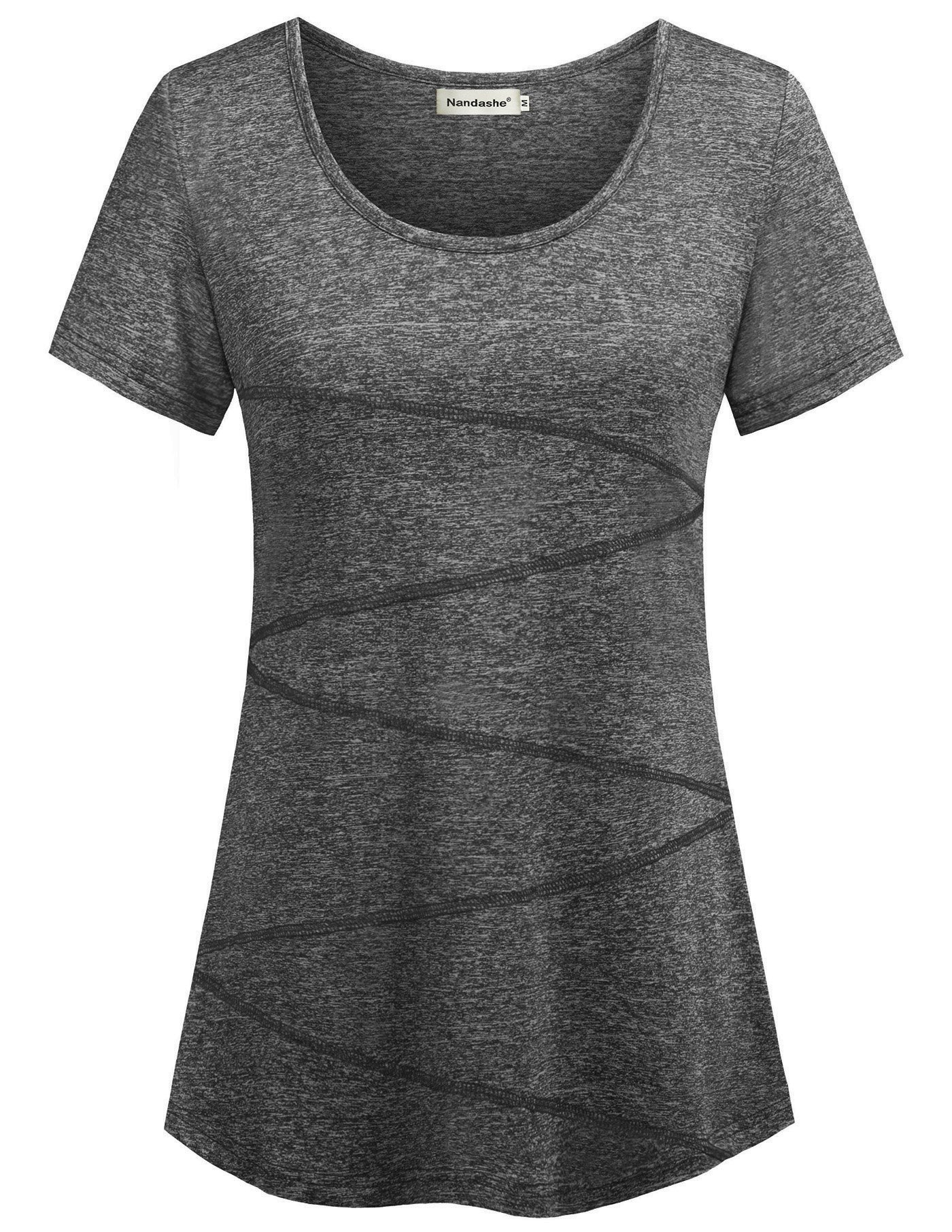 Moisture Wicking Shirts Women,Nandashe New Arrival Modern Misses Cute Crew Neck Solid Comfy Breathable Vivid Chic Style Gorgeous Lightweight Leisure Athletic Wear Pullover T-shirt Dark Grey Large