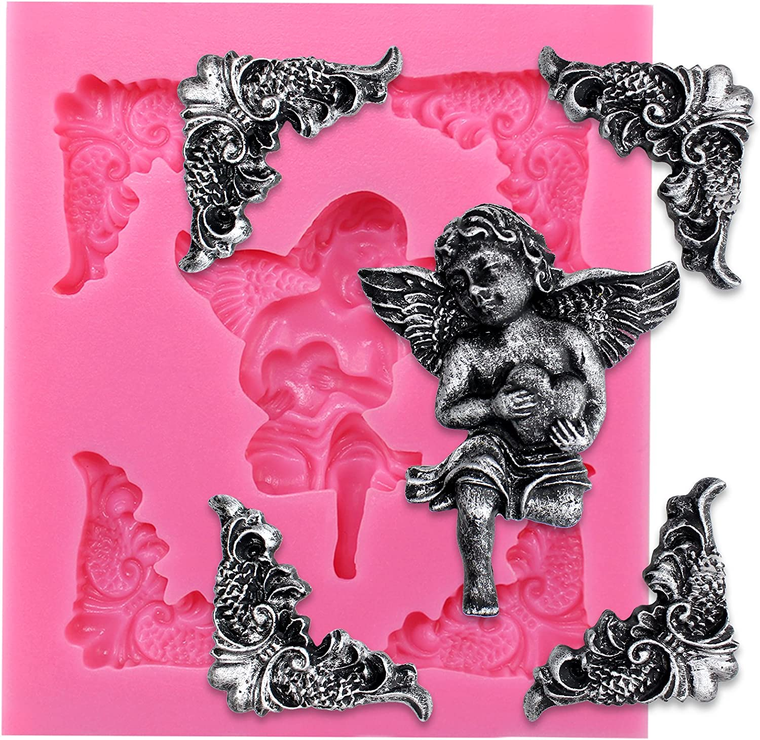 Funshowcase Angelic Cherub Hold Heart with Frame Corner Fondant Silicone Mold for Sugarcraft, Cake Decoration, Cupcake Topper, Chocolate, Pastry, Cookie Decor, Jewelry, Polymer Clay, Crafting Projects