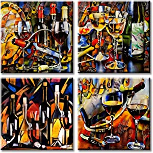 JiazuGo Wine Canvas Wall Art Abstract Graffiti Cup and Bottle Pictures Modern Artwork Colorful Painting Printed for Kitchen Dining Room Home Decor 12x12 inch x 4 Stretched Framed Ready to Hang