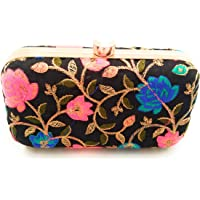 Flora Handicraft Party Wear Box Clutch Bag Purse For Bridal, Casual, Party
