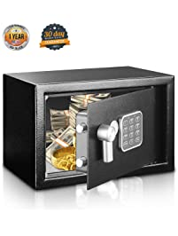 SereneLife Safe Box Security for Firearms Documents, Jewelry Includes Keys Compact 9.1 x 6.7 x 6.7 inches (SLSFE12)