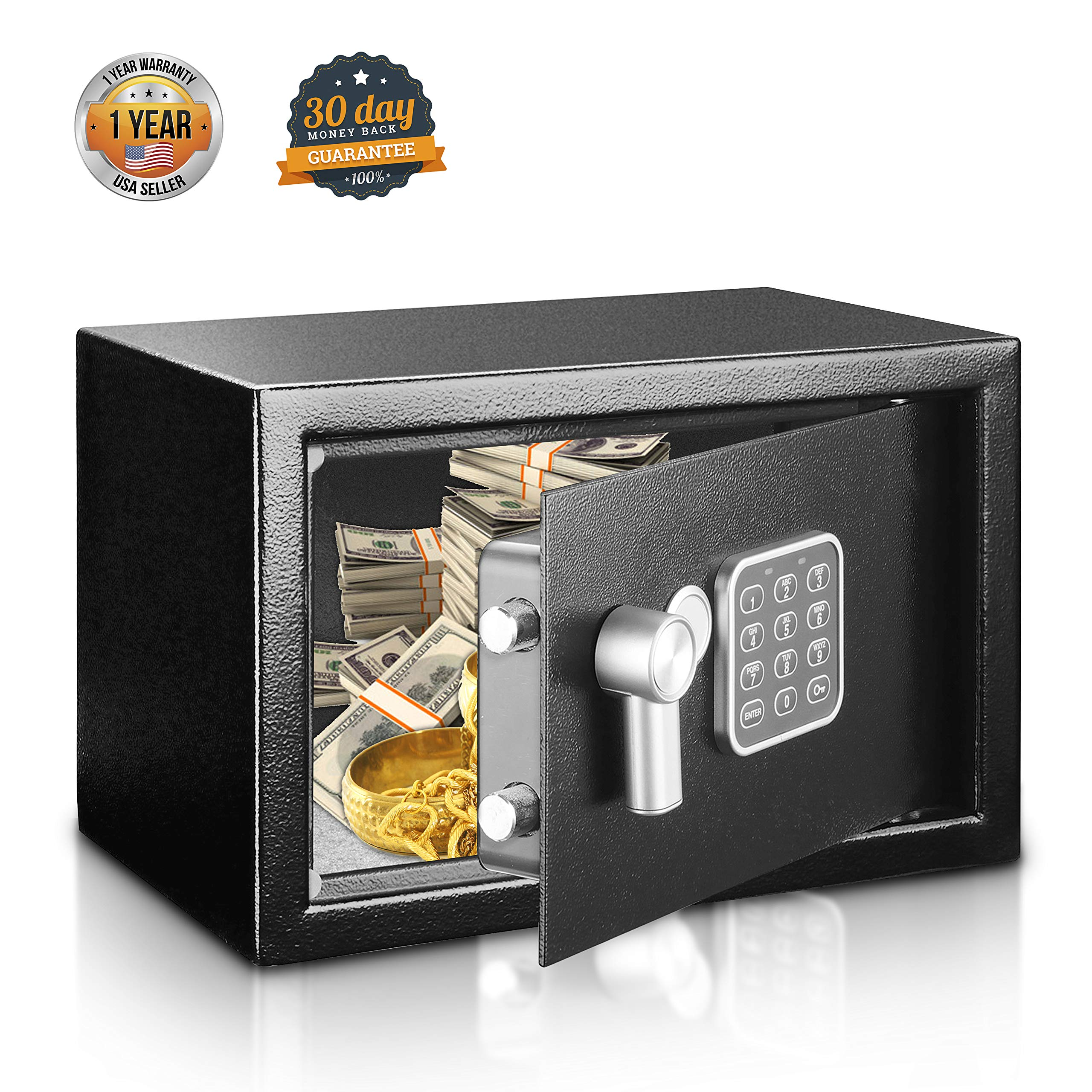 SereneLife Safe Box, Safes and Lock Boxes, Money Box, Safety Boxes for Home, Digital Safe Box, Steel Alloy Drop Safe, Includes Keys by SereneLife