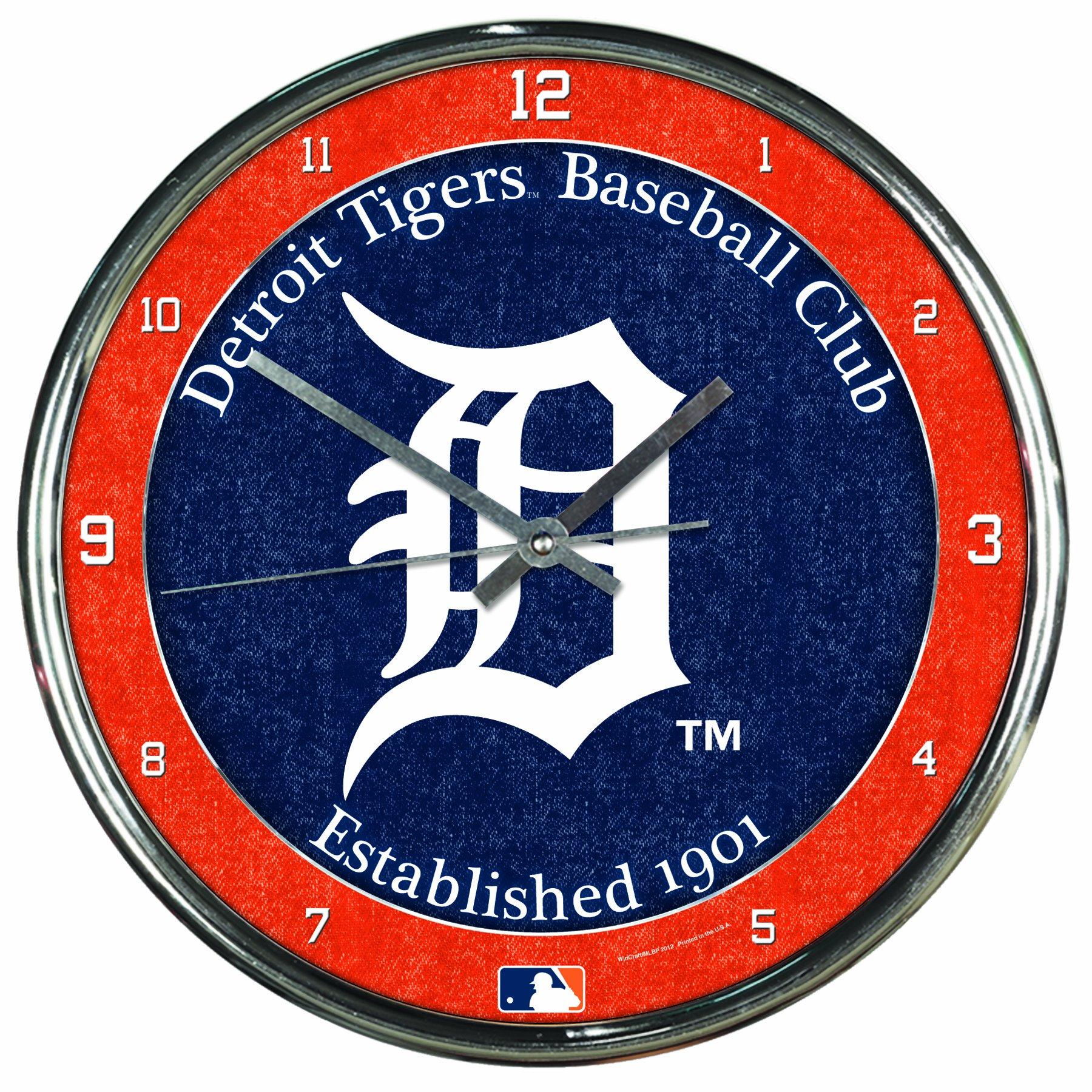 MLB Detroit Tigers Chrome Clock, 12'' x 12'' by WinCraft