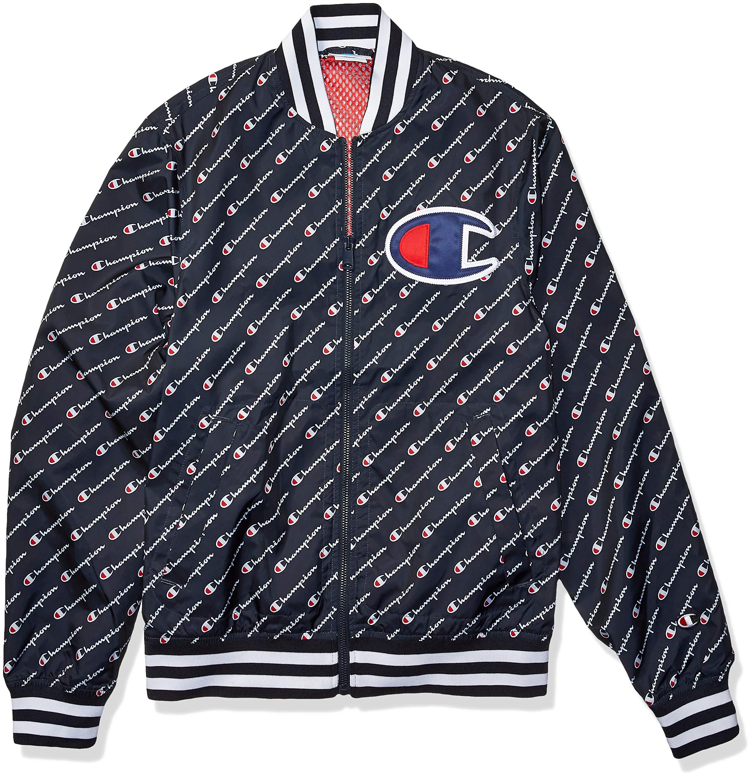 Champion LIFE Men's Satin Baseball Jacket, Diagonal Script Navy, X-Small by Champion LIFE