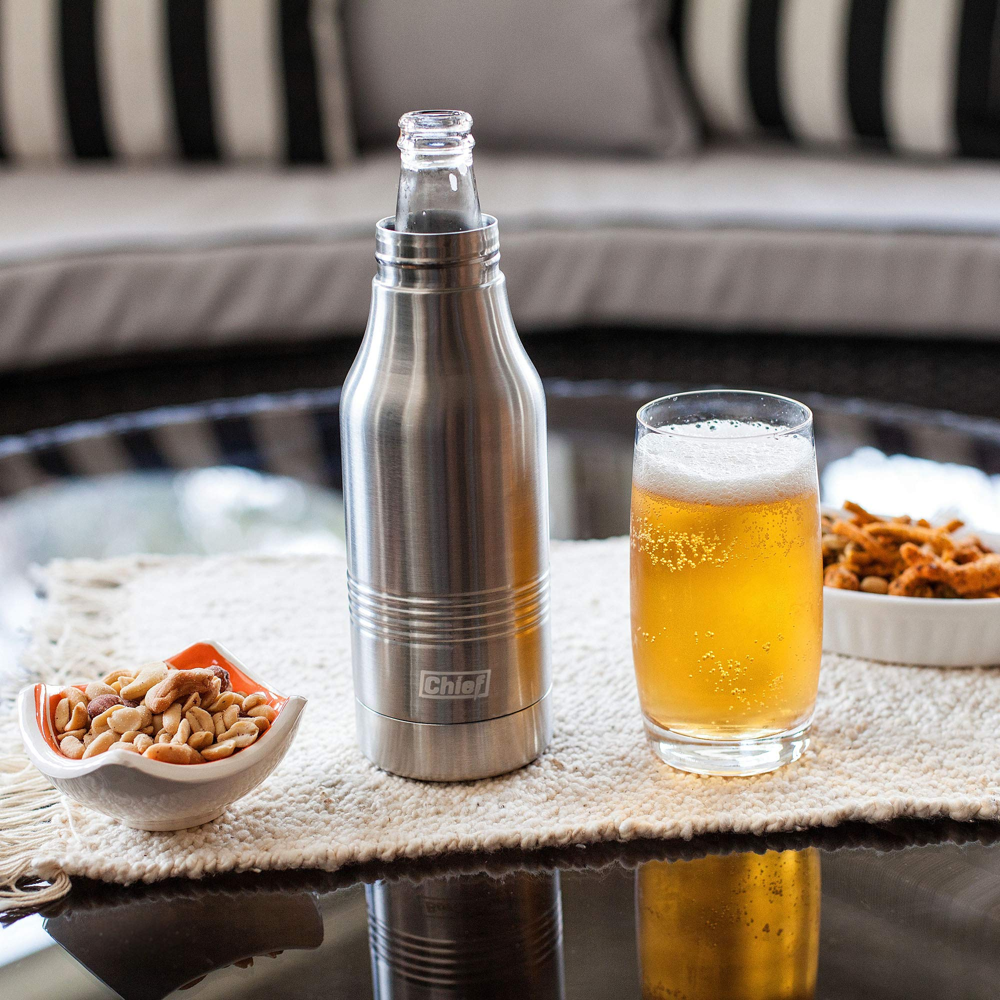 Beer Bottle Cooler- Double Wall Stainless Steel Beer Bottle Insulator. Great Gift ! BONUS e-Book and Gift Packaging. by Chief (Image #6)