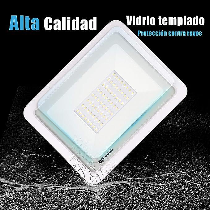 POPP® juegos de 5 y 10 Floodlight Foco Proyector Led 10w 20w 30w 50w para Exterior Iluminación Decoración 6000k luz fria Impermeable IP65 Blanco transparente y Opal (Focos blanco 50w, 5 unidad):