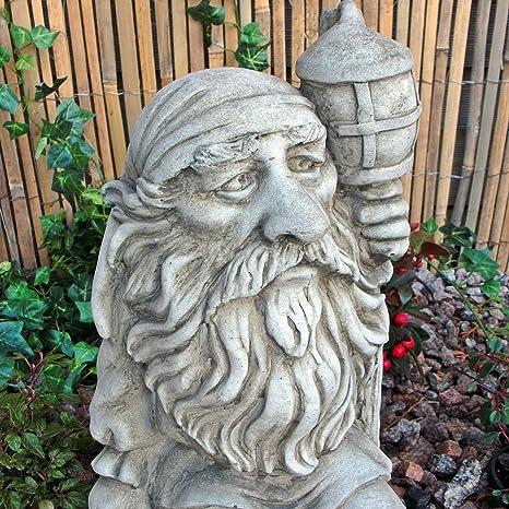 Pietra Figura Inglese Gnomo Da Giardino Gnomo Folletto Con Lampada