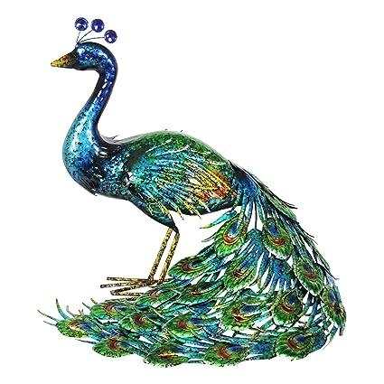 Genial Exhart Indian Peacock Garden Statue, Freestanding, Metal, 15.25u0026quot; L X  20u0026quot;
