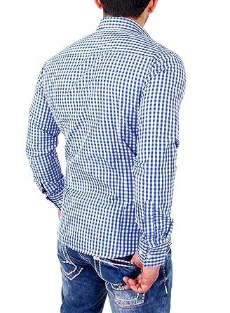 low priced 6c6d4 e8c67 Reslad Kariertes Hemd-Herren Slim Fit Bügelfreies Freizeithemd Kariert  Oktoberfest Hemd Trachtenhemd Karo-Hemd RS-7007