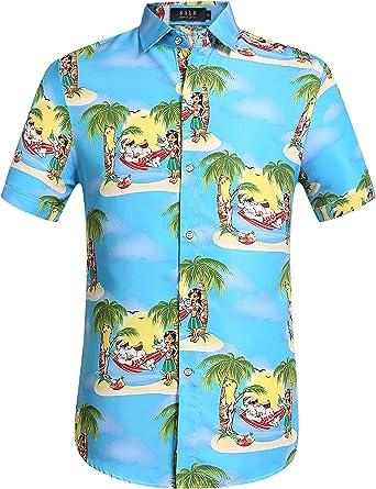 SSLR Camisa Hawaiana Tropical Estampado Navideño Papá Noel 3D Casual Manga Corta para Hombre
