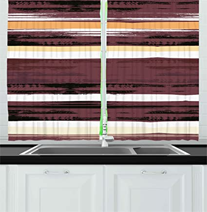 amazon com ambesonne abstract kitchen curtains horizontal murky